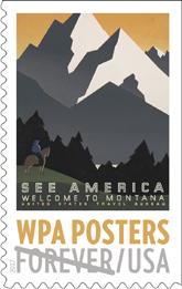 USPS WPA Poster stamps 2017, See America - Welcome to Montana WPA Poster